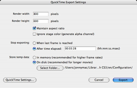 Flash CS3 QuickTime Export Preferences