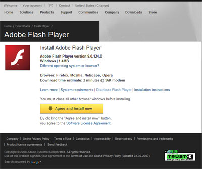 adobe flash player 9.0 windows